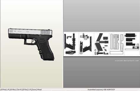 Papercraft Guns Templates - easy glock18c papercraft by svanced on deviantart