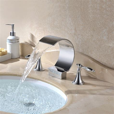 Waterfall Faucet Bathroom Mooni Waterfall Widespread Lever Handle Bathroom Sink Faucet