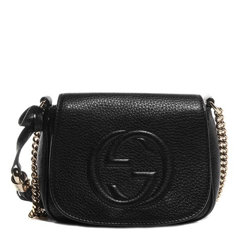 Small Leather Chain Bag by Gucci Leather Small Soho Chain Shoulder Bag Black 74957