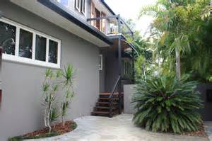 Yellow And Grey Window Treatments - my houzz beach meets bush in a caribbean inspired noosa home mediterranean exterior