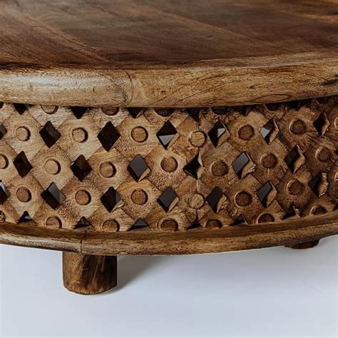 carved wood coffee table west elm
