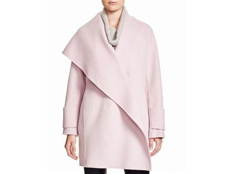 drape coat vince drape collar coat in pink lyst