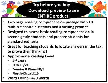 reading comprehension test multiple choice questions 2nd grade reading comprehension passage and multiple