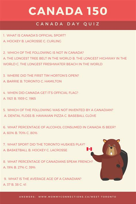 printable quiz about canada canada 150 quiz mommy connections west toronto