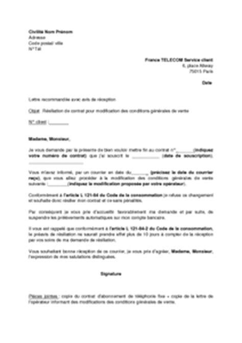 Lettre De Résiliation Free En Ligne Modele Lettre Resiliation Ligne Telephonique Fixe Document