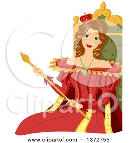 Cartoon of a red and gold kings throne with scepter royalty free vector clipart by bnp design