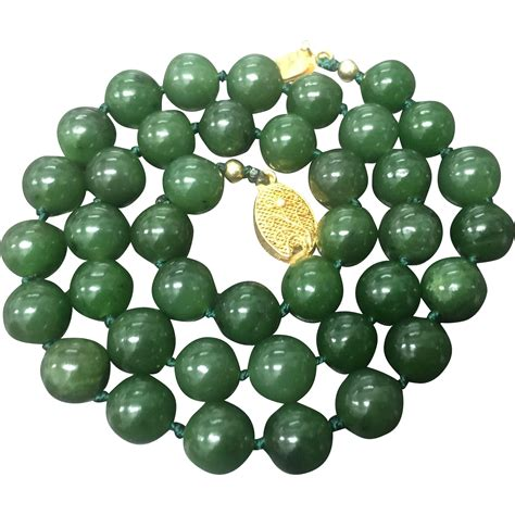 vintage green nephrite jade beaded knotted with filigree gold from grace vintage on ruby