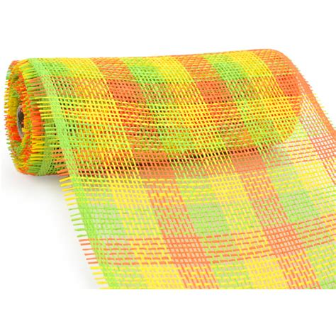 Paper Mesh Craft - 10 quot paper mesh roll lime orange yellow plaid 10 yards