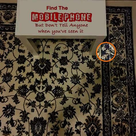 find a mobile phone can t find the mobile phone on this rug and it s