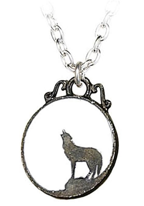 howling wolf pendant necklace womens unique costume jewelry