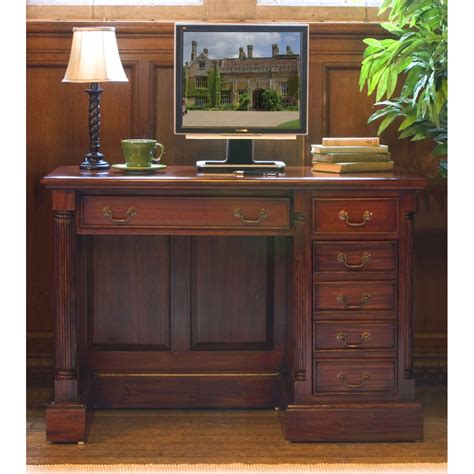 La Roque Single Pedestal Mahogany Computer Desk Wooden Mahogany Home Office Furniture