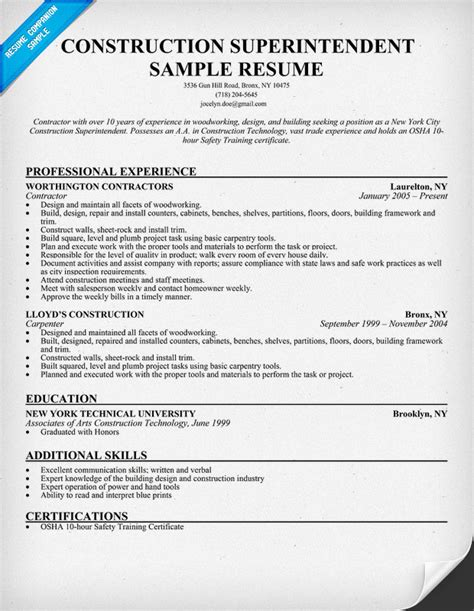 Example Resume: Sample Resume Construction Superintendent