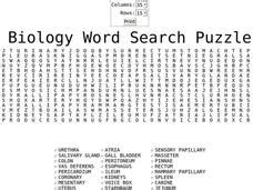 printable word search biology biology word search worksheet for 8th 9th grade lesson