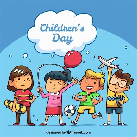 Children Of The Days childrens day concept with happy vector free