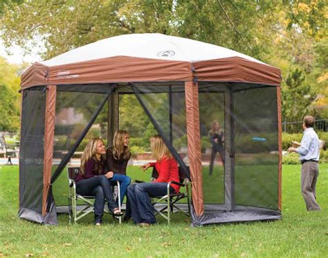 coleman screen house with awnings spacious pop up canopy with screen walls canopykingpin com