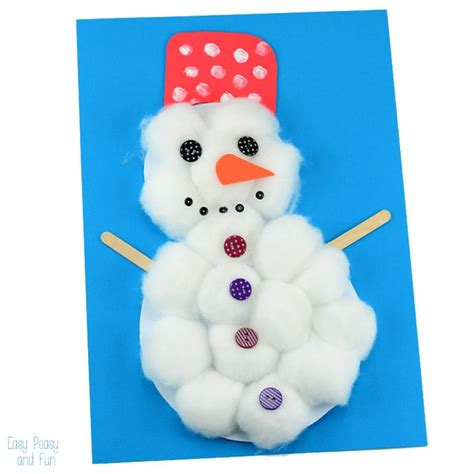 cotton snowman craft easy peasy and