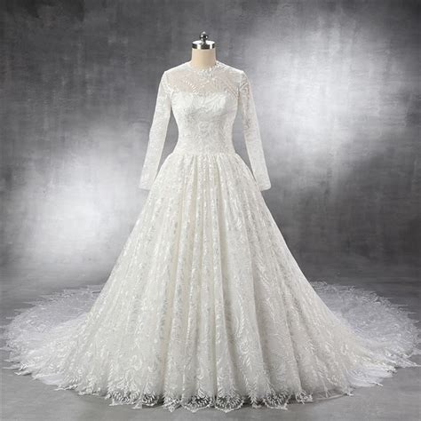 cathedral wedding dress royal gown keyhole back sleeve vintage lace