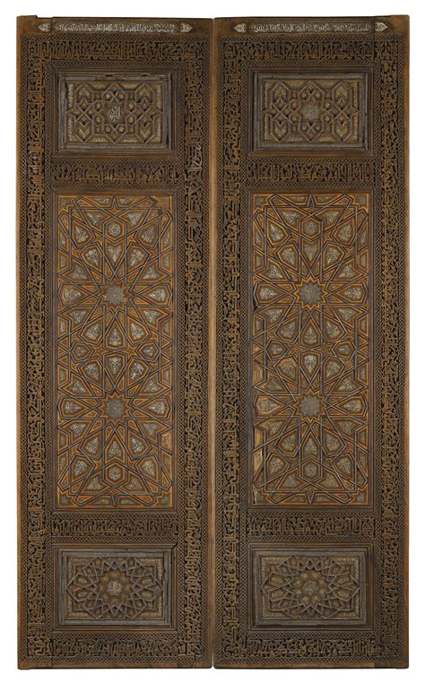 islamic pattern glass an impressive pair of ivory inlaid wooden doors persia