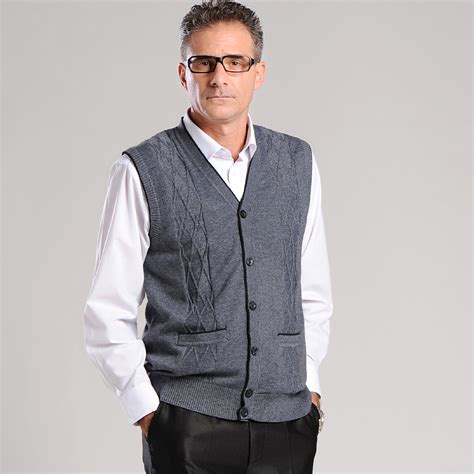 Cardigan Olis Vest 1 Sale Autumn Mens Plaid Checked V Neck Wool Cardigan