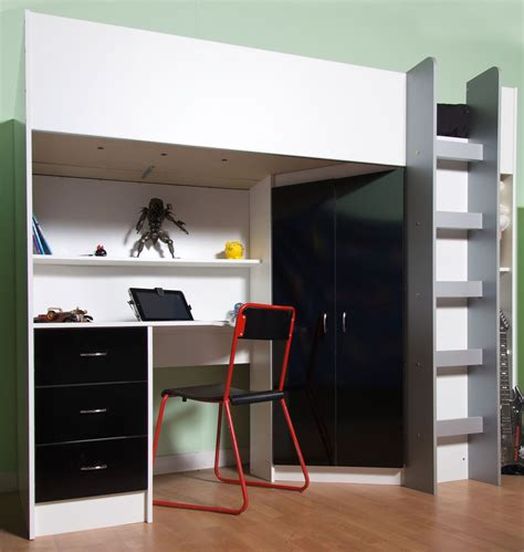 High Sleeper Cabin Bed by High Sleeper Cabin Bed With Desk And Wardrobe Also Wood