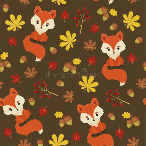 cute fox on leaf and acorn pattern mousepads zazzle seamless autumn forest pattern stock vector image 58820085
