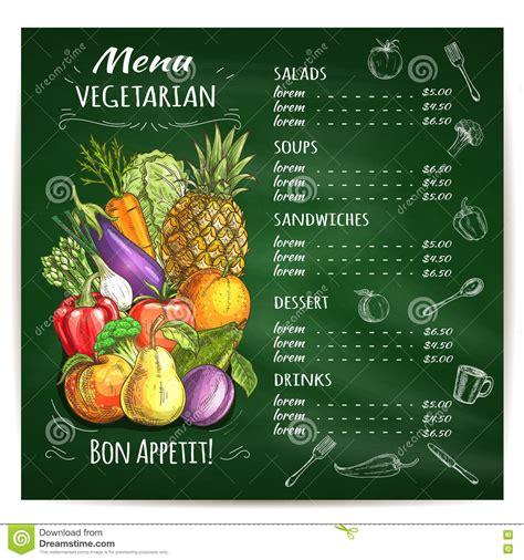 vegetarian food restaurant menu on chalkboard stock vector