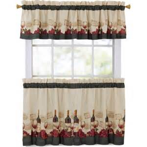 Cheap Kitchen Curtain Sets Mainstays Vineyard 3 Kitchen Curtain Set Walmart