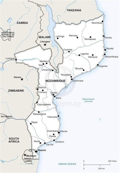 map of mozambique cities vector map of mozambique one stop map