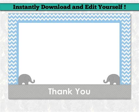 thank you baby shower card template elephant thank you card template printable boy baby