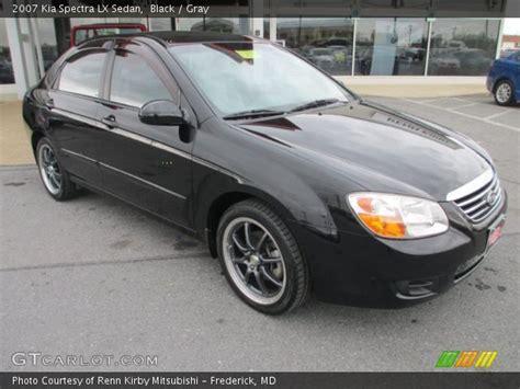 2007 Kia Spectra Black Black 2007 Kia Spectra Lx Sedan Gray Interior