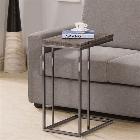 couch end table weathered grey finish expandable side end table