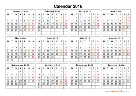 Printable Yearly Calendar 2016 Uk | calendar 2016 uk free yearly calendar templates for uk