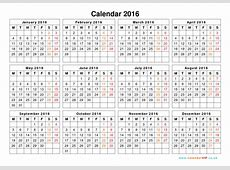 Calendar 2016 UK - Free Yearly Calendar Templates for UK 2016 Free Printable