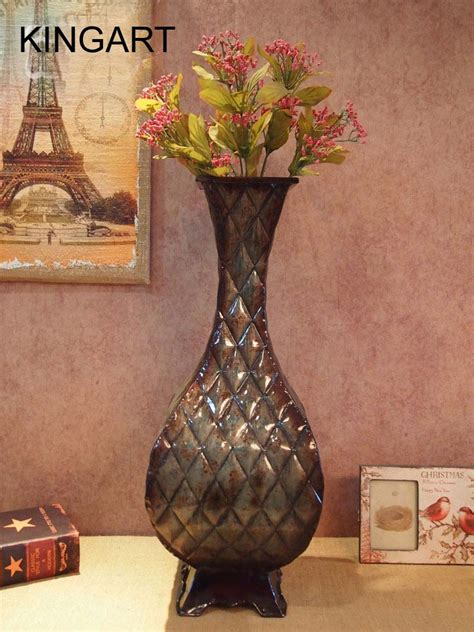 home decor floor vases large floor vase kingart metal tabletop flower vase large