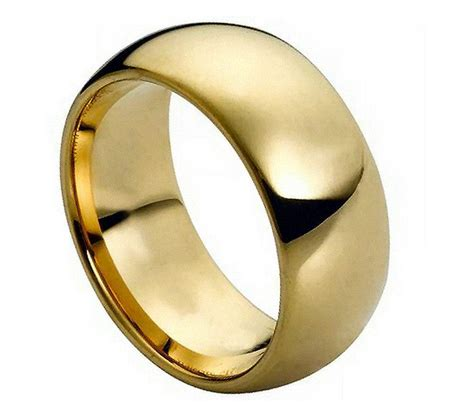 tungsten carbide mens wedding band 9mm ring domed gold