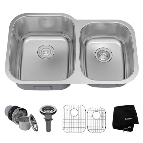 Stainless Steel Kitchen Sinks Undermount Reviews Kraus Undermount Stainless Steel 32 In Bowl Kitchen Sink Kit Kbu24 The Home Depot