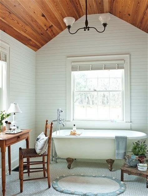 White Wood Ceiling Planks Wood Plank Ceiling White Plank Walls Bath Ideas