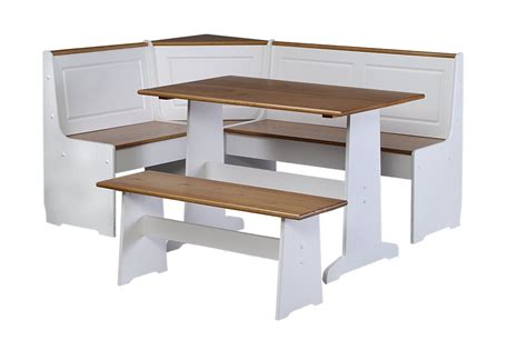 Kitchen Tables And Benches Two Tone Breakfast Nook With White And Walnut Painting