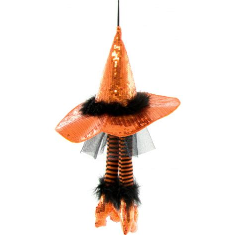 18 quot hanging witch hat with witch legs orange h3316402 craftoutlet com