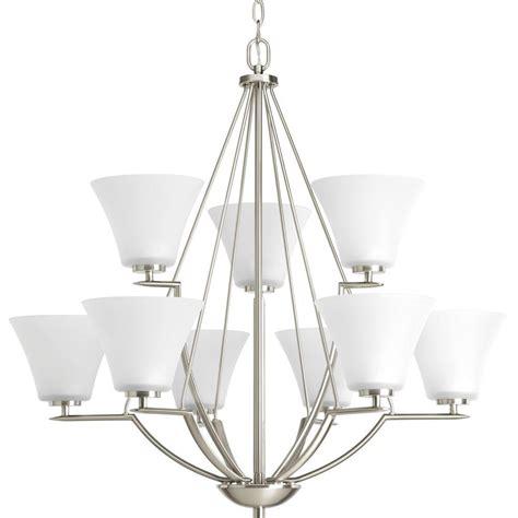 progress lighting brushed nickel chandelier progress lighting bravo collection 9 light brushed nickel