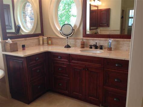 Mosaic Backsplash Ideas cherry mocha cabinets with crema marfil marble master