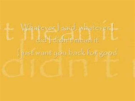 take that back for good with lyrics youtube