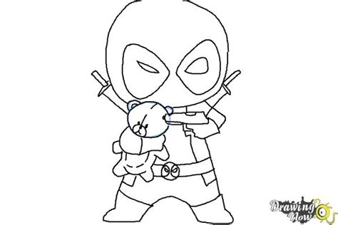 how to draw chibi deadpool drawingnow
