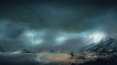 men night rain rocks sea shore lightning mist