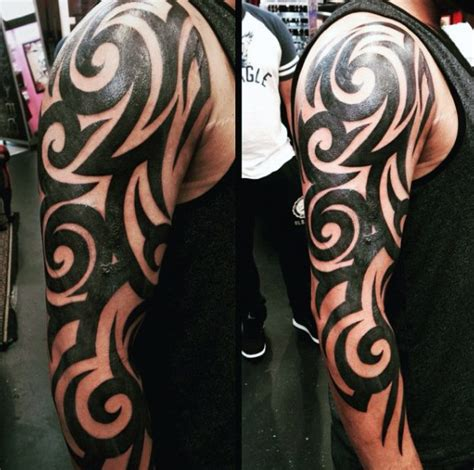 mens tribal sleeve tattoos 90 tribal sleeve tattoos for manly arm design ideas