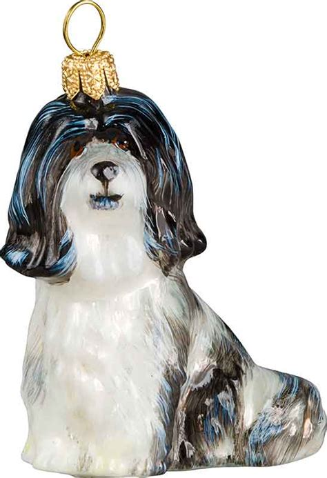 havanese black white dog ornament