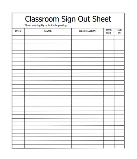 12 Sle School Sign In Sheets Sle Templates School Sign Template