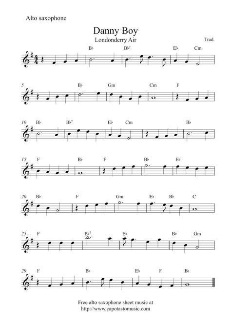 free printable sheet music alto sax free alto saxophone sheet music danny boy londonderry air