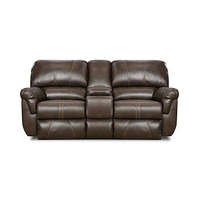 Simmons 174 Bucaneer Cocoa Reclining Console Loveseat At Big Simmons Recliner Sofa