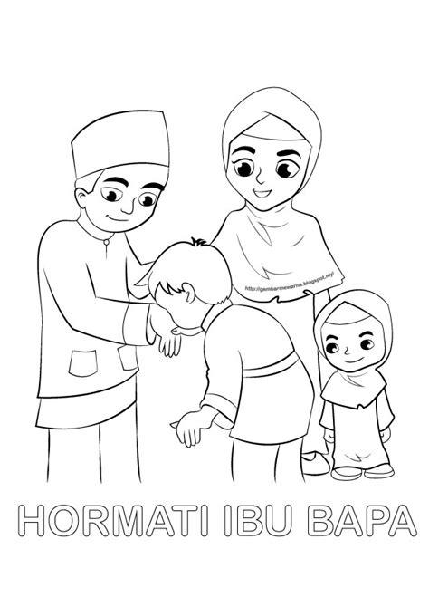 Poster mewarna Hormati Ibu Bapa - Gambar Mewarna